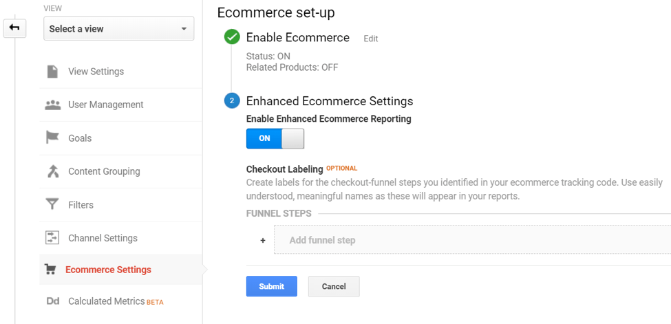 enable ecommerce settings google analytics