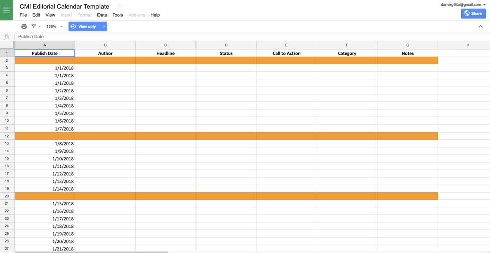 set up content calendar