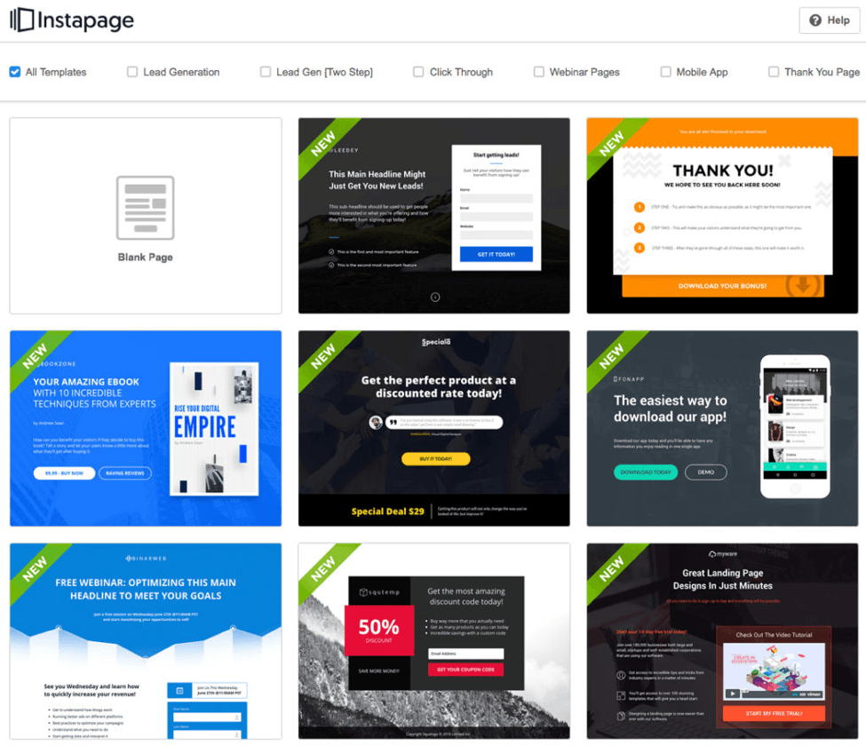 landing pages content type