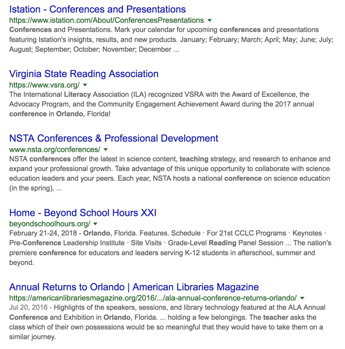use google to find local conferences