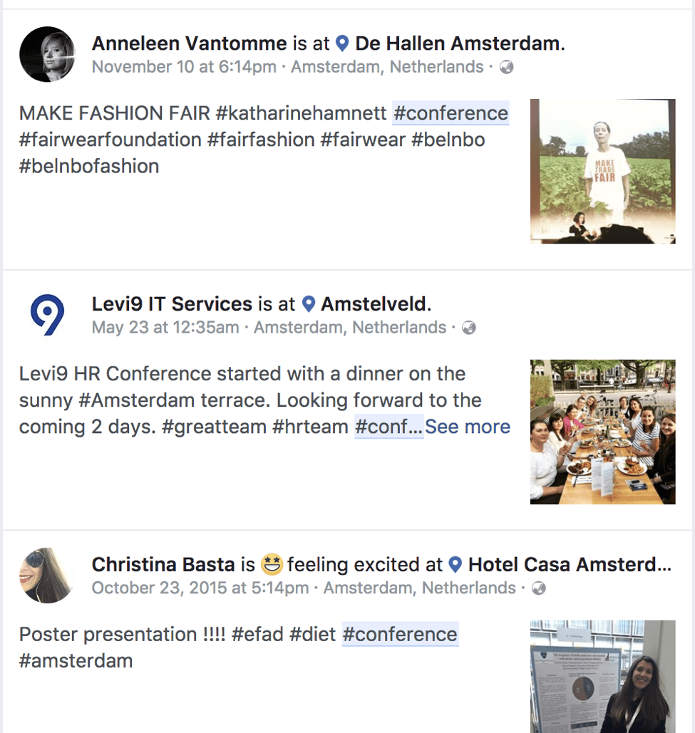 finding conferences to attend via Facebook