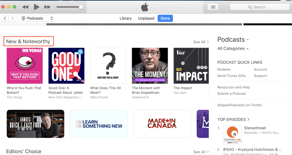 search podcasts on iTunes