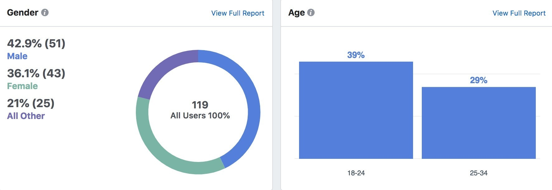 Facebook analytics demographic breakdown