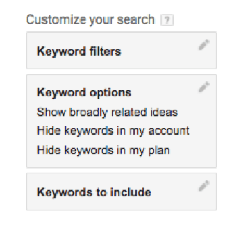 keyword filters AdWords