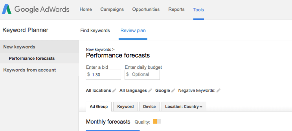keyword planner suggested bids