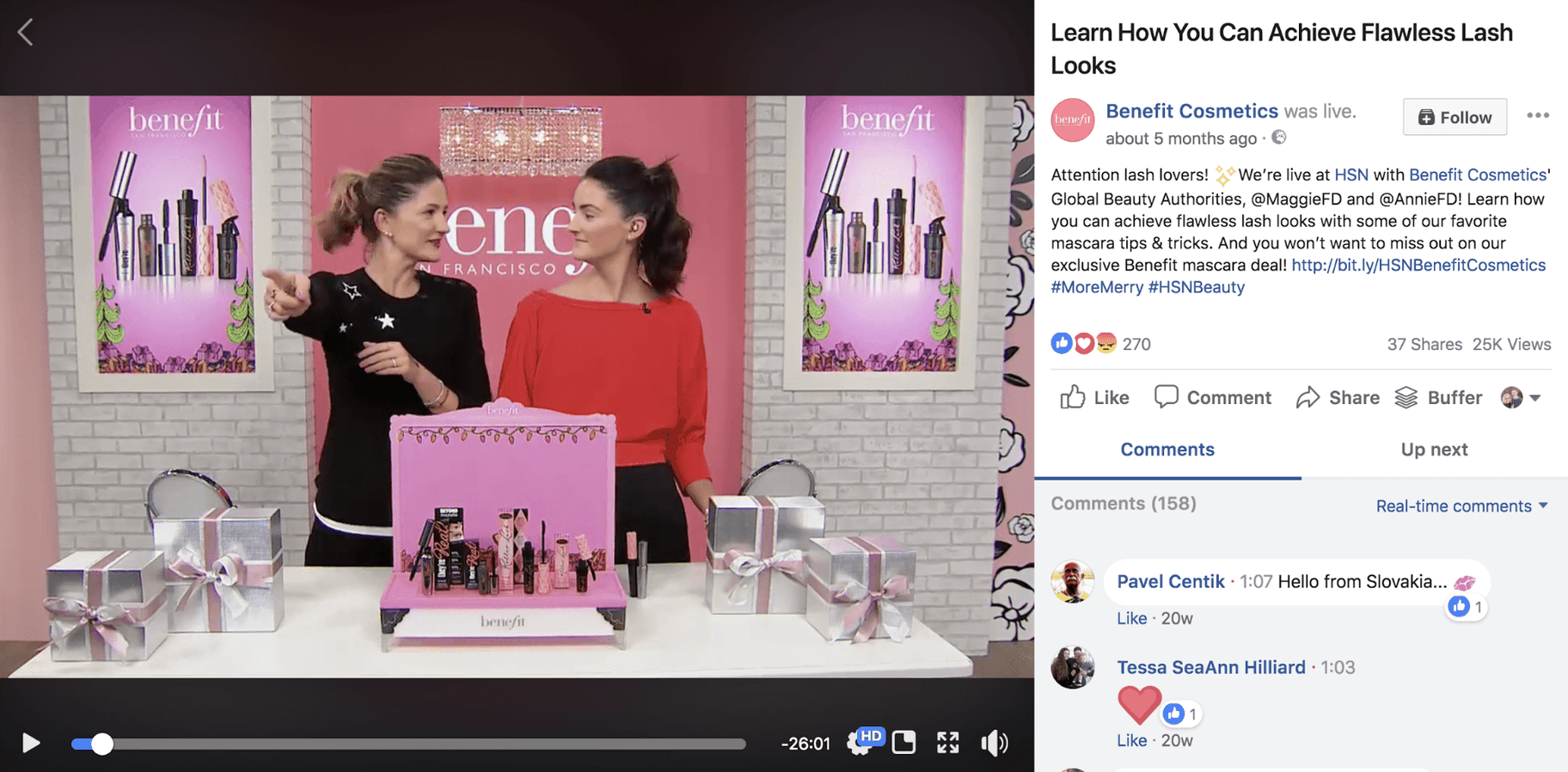 Benefit Cosmetics Facebook Live