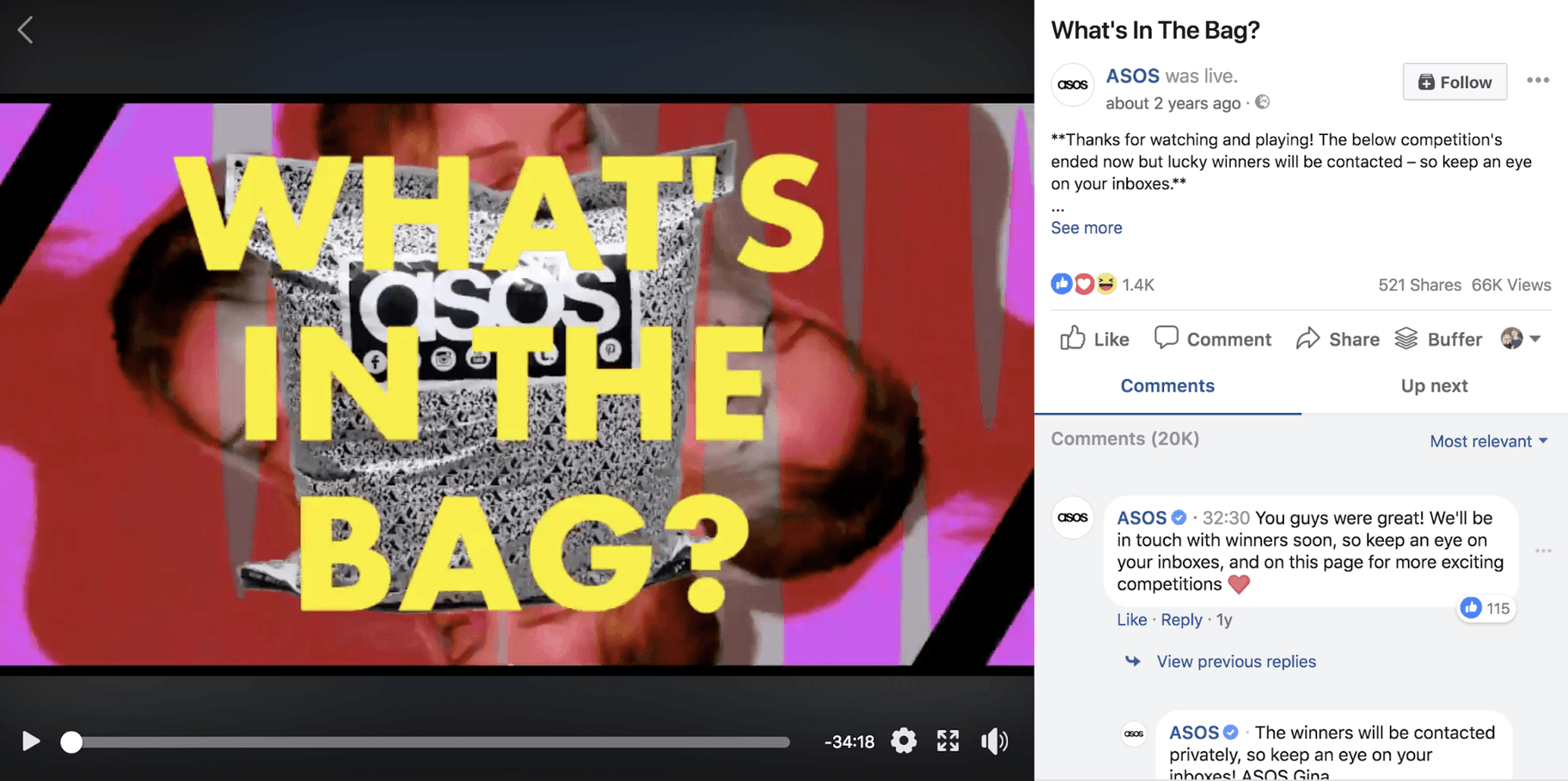 Asos Facebook Live Video