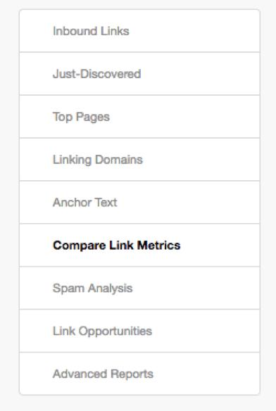 compare link metrics moz