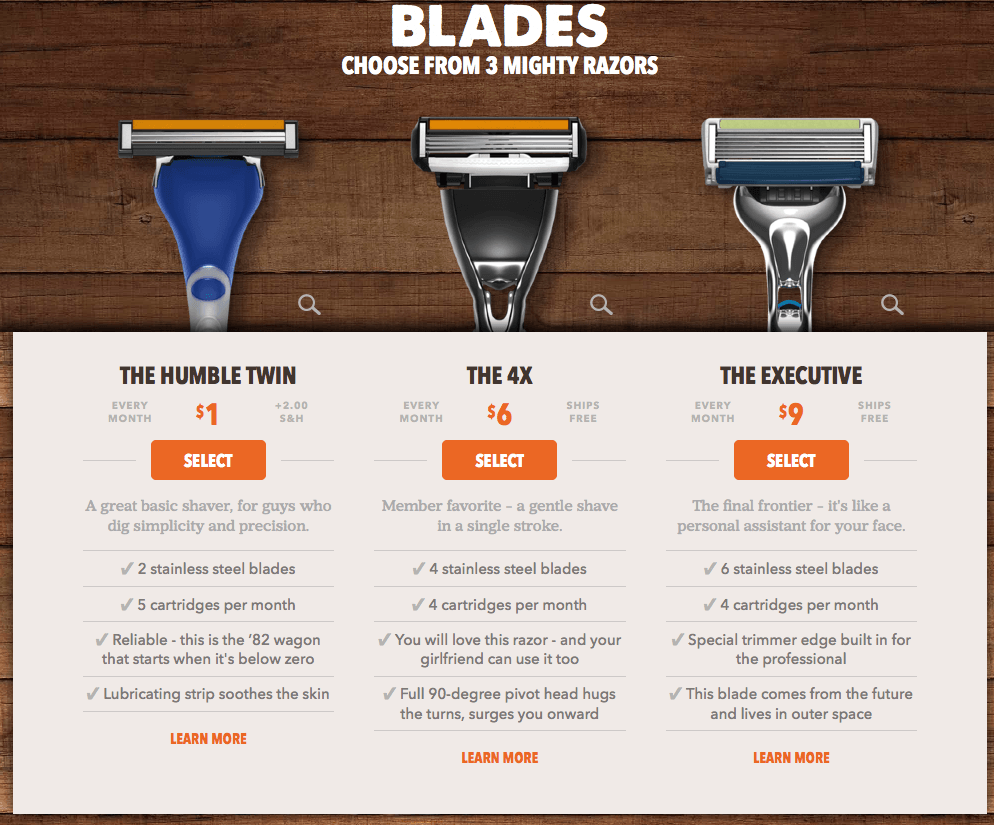 Dollar Shave Club Upsell