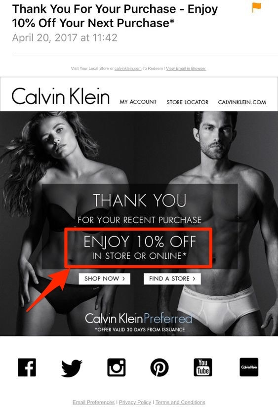 Calvin Klein Email Upsell