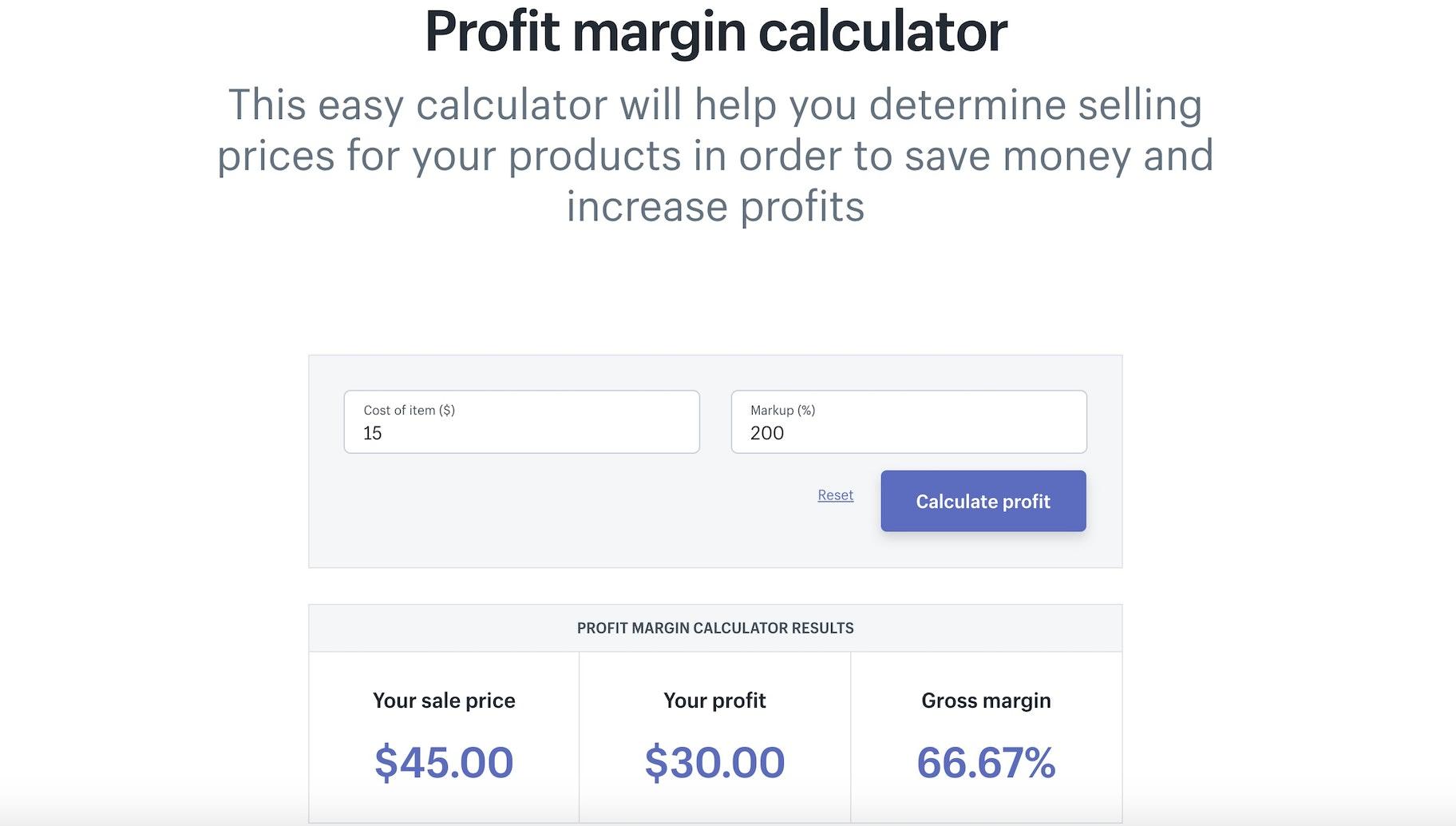Shopify Tools - Profit Margin Calculator