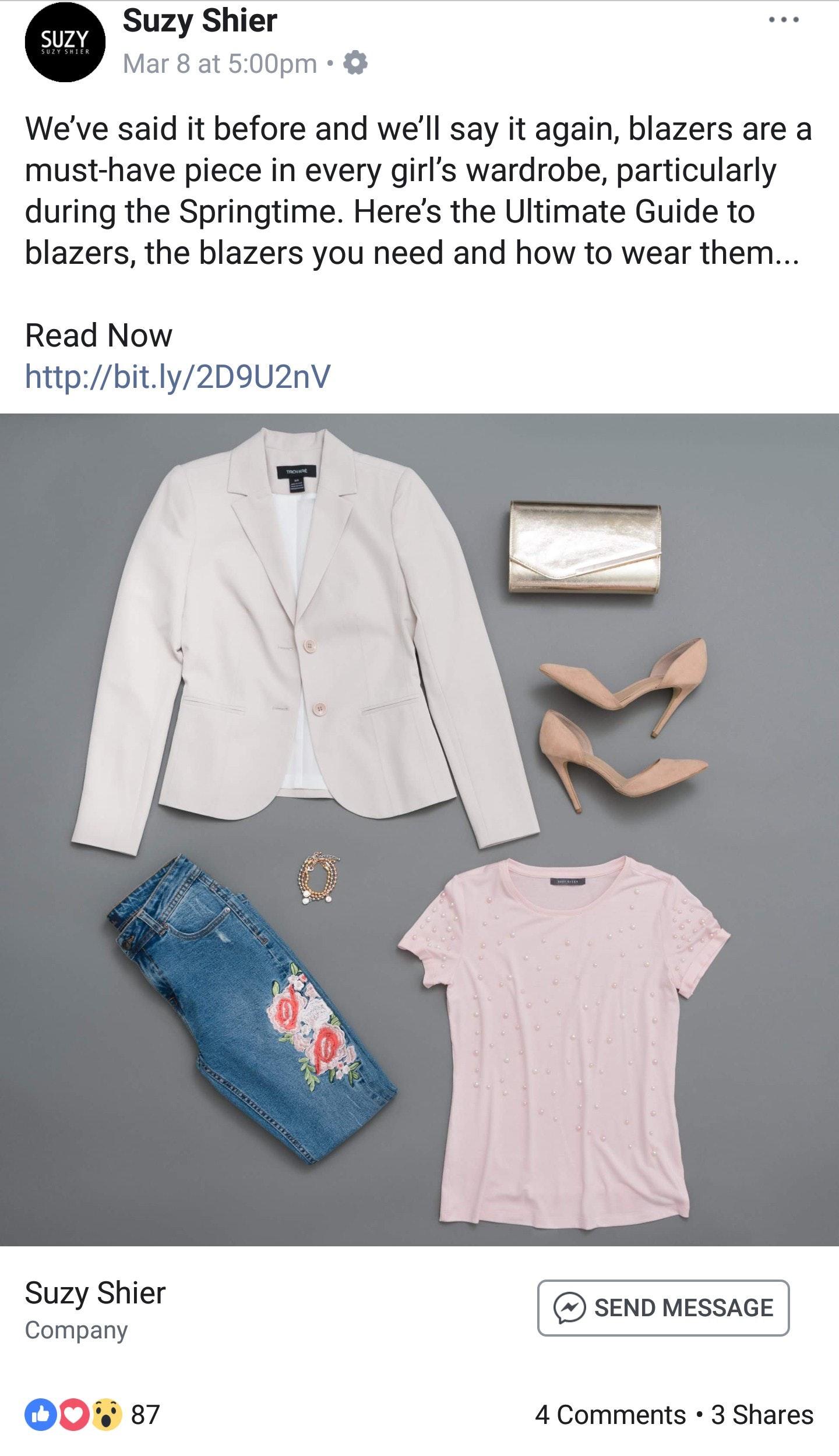 Suzy Shier - Facebook Ad Examples
