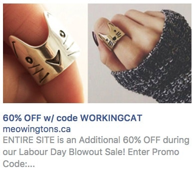 Meowingtons - Sample Facebook Ads