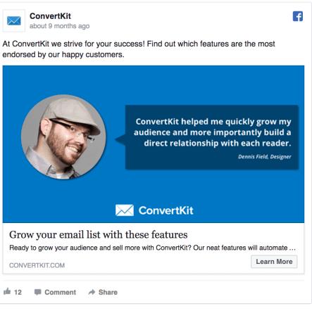 ConvertKit Facebook Ad Design
