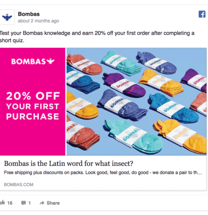 Bombas Facebook Ad Design
