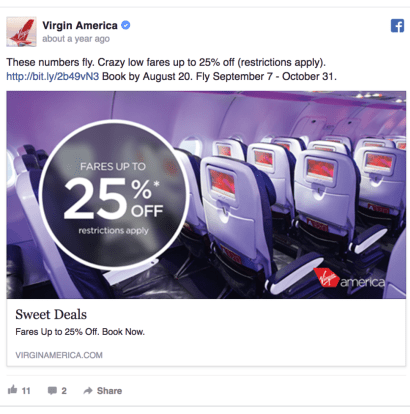 Virgin America Facebook Ad Design