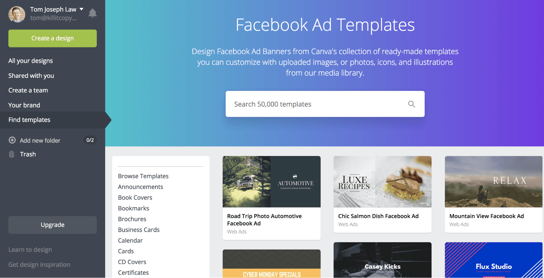 Canva Facebook Ad Templates