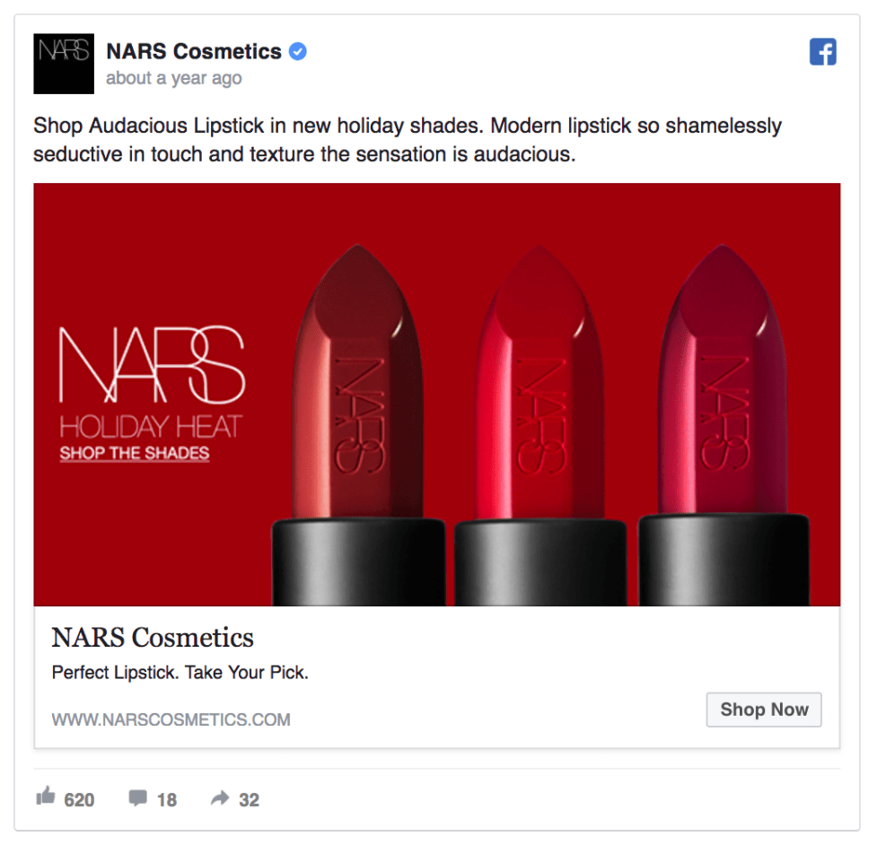 Nars Cosmetics Facebook Ad design
