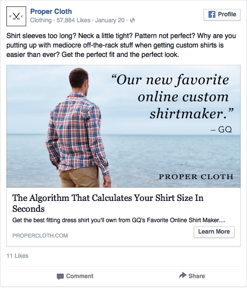 Proper Cloth Facebook Ad Design