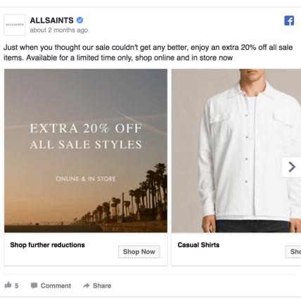 AllSaints Facebook Ad Design