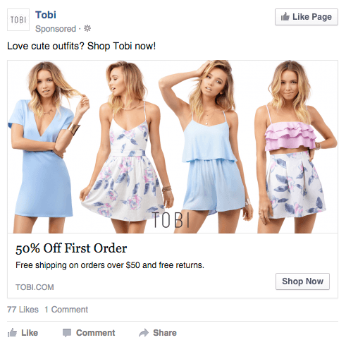 Tobi Facebook Ad Design