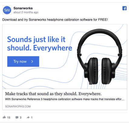 Sonarworks Facebook Ad Design
