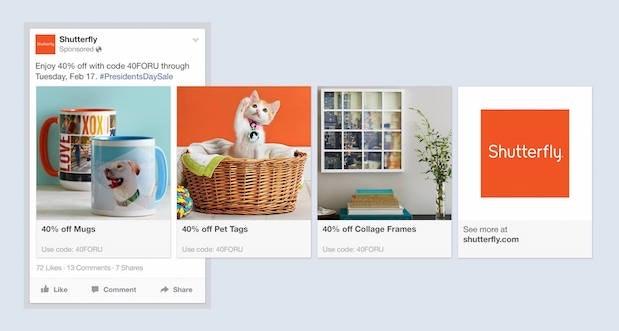 Shutterfly Facebook Ad Design