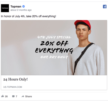 Topman Facebook Ad Design