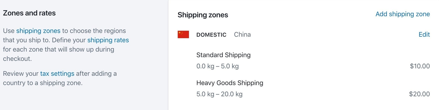 Shipping zones