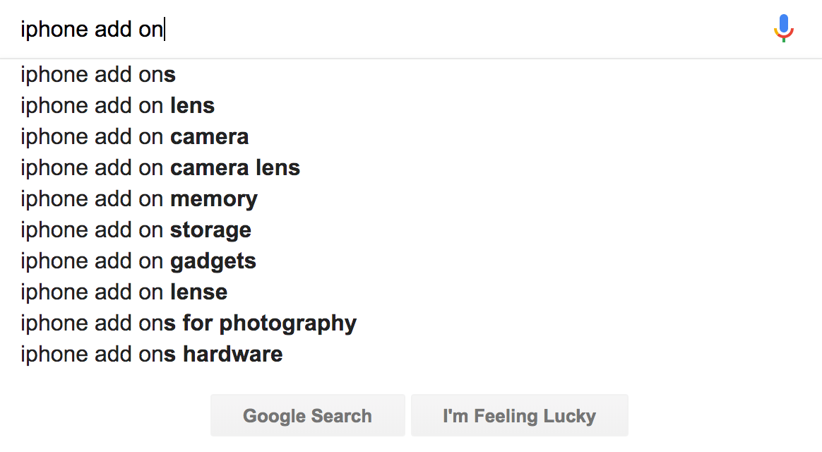 Google offering suggestions to complete a search