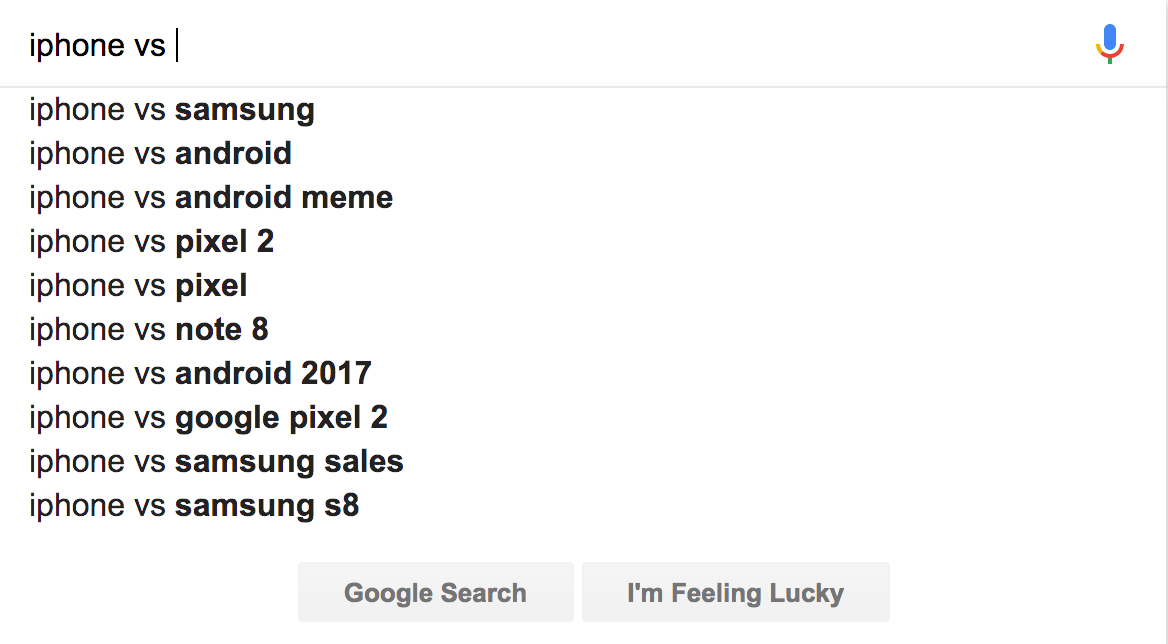 Autocomplete results from Google