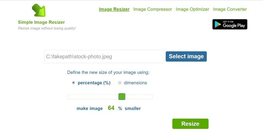 programmi per ridimensionare immagini online gratis: Simple Image Resizer