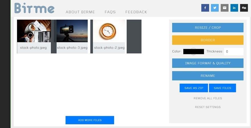 programmmi per ridimensionare immagini online gratis: BIRME