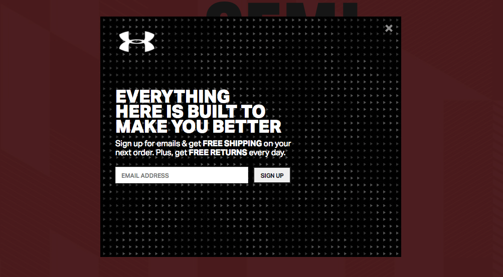 Lead generation layer from Under Armour