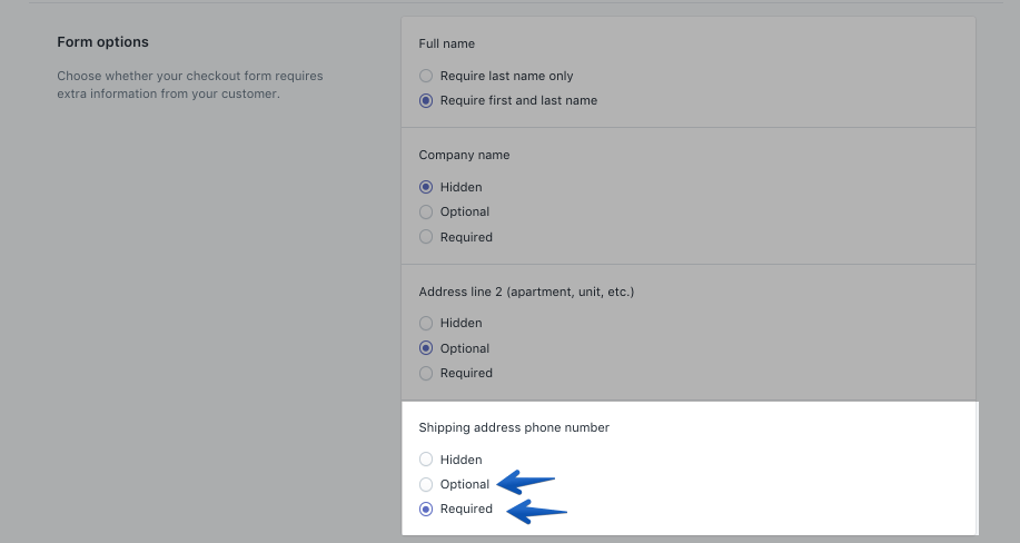 Shopify telephone settings