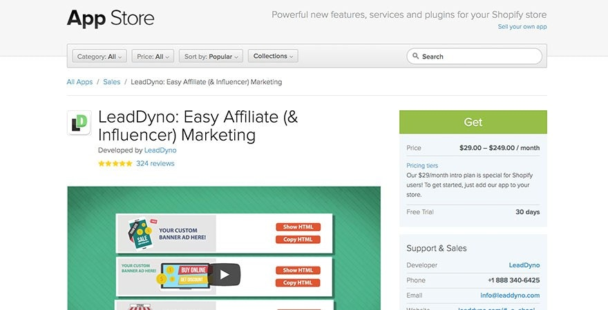 LeadDyno: Shopify Affiliate Marketing App