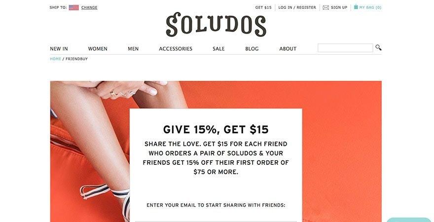 Soludos affiliate program with FriendBuy app