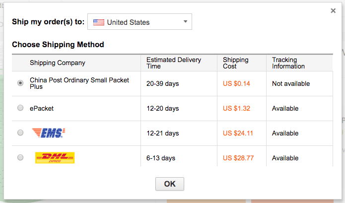 Shipping options for delivery to United States