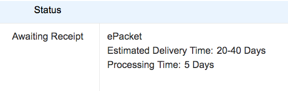 Status update on ePacket delivery