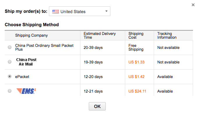 Shipping costs United States