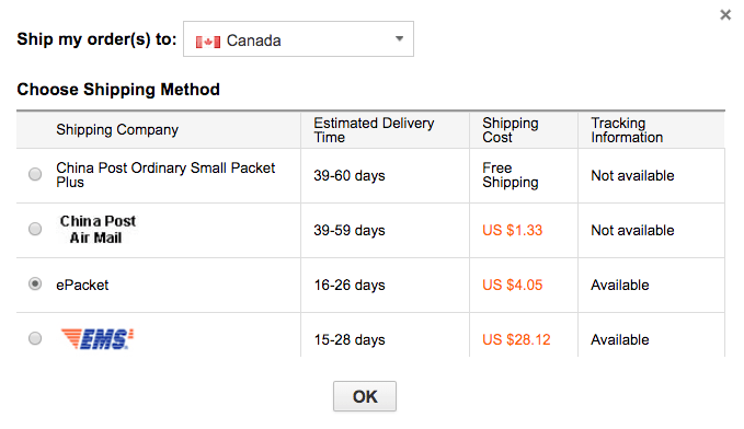 Shipping costs Canada
