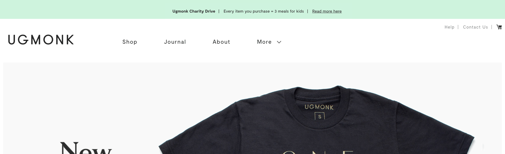 Ugmonk donation details on homepage