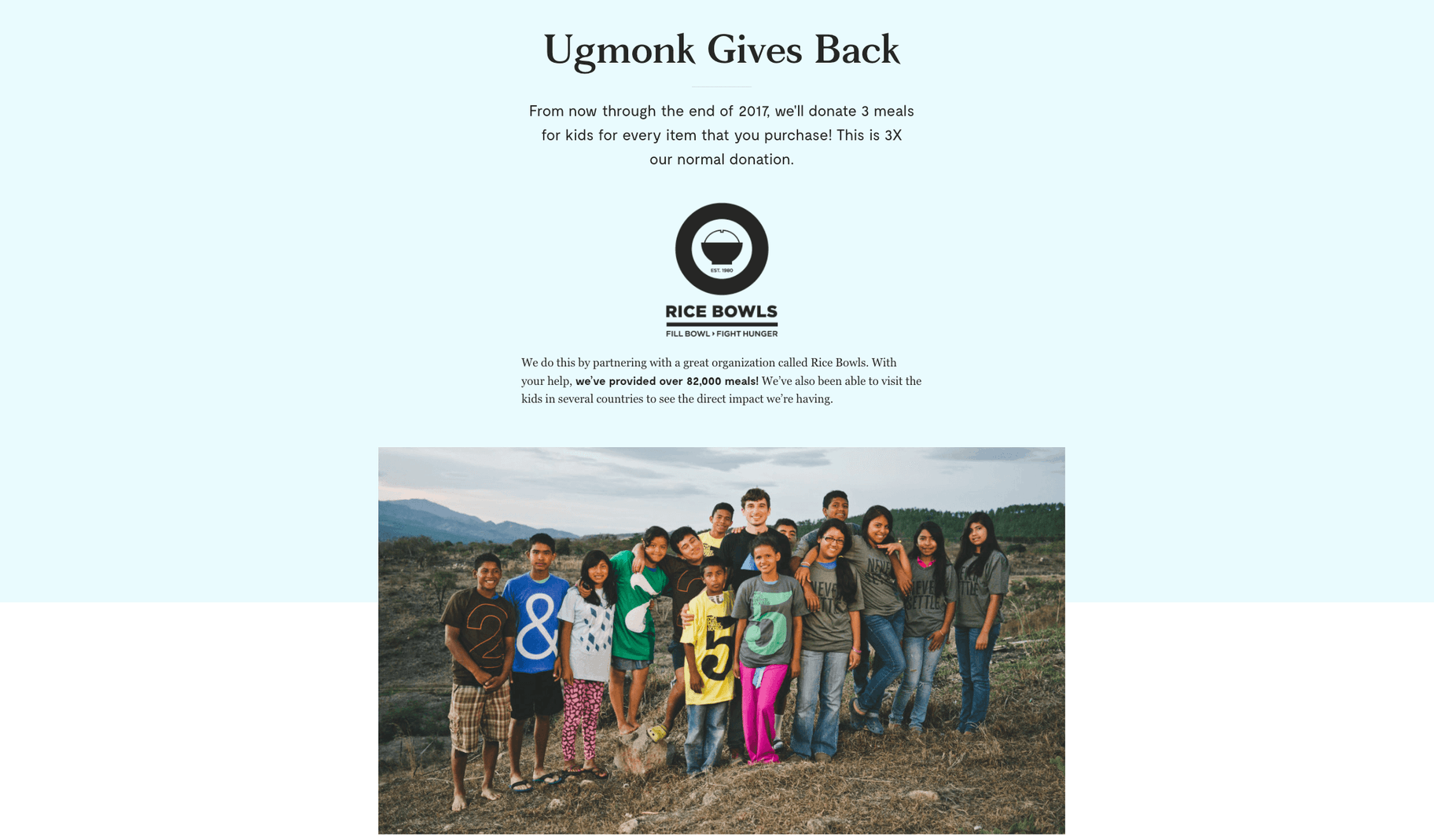Ugmonk charity work with Rice Bowls