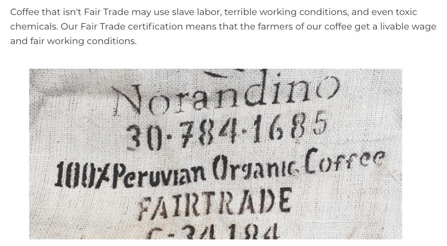 Death Wish Coffee fair trade info