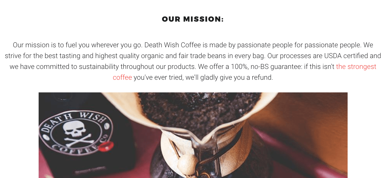 Death Wish Coffee mission statement