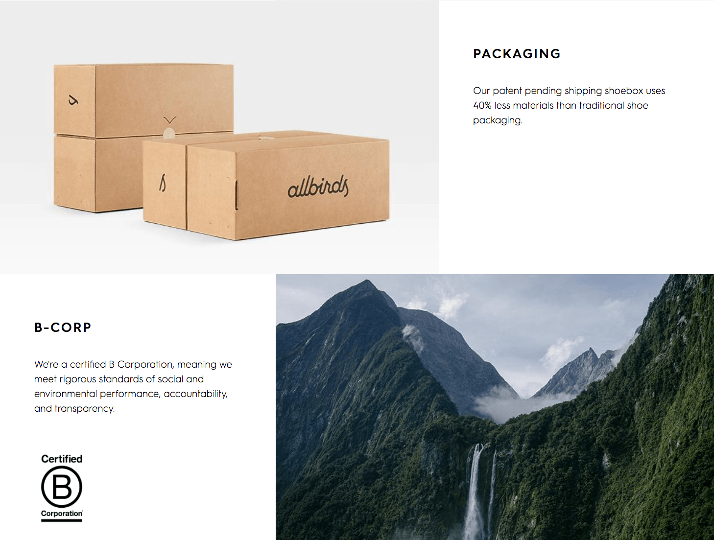 Sustainable packaging from Allbirds