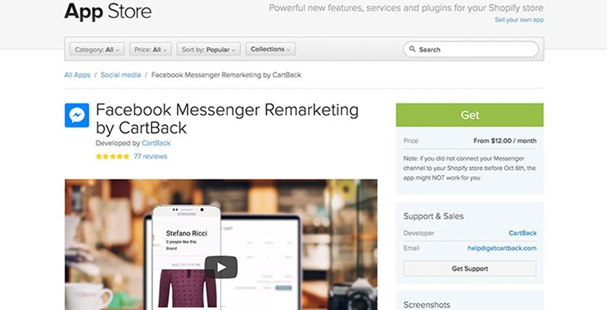 Facebook - CartBack Facebook Messenger
