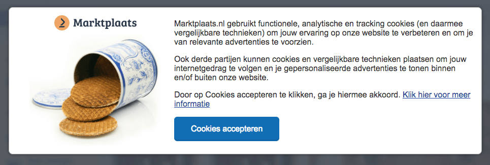 Cookie banner from Dutch website Marktplaats