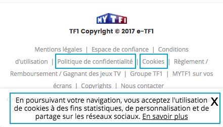 French website links to information on cookies and data privacy