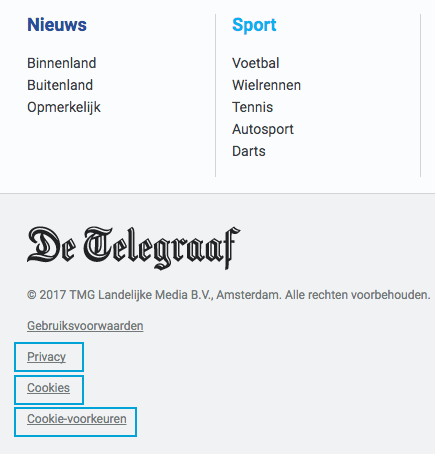 Privacy information from website De Telegraaf